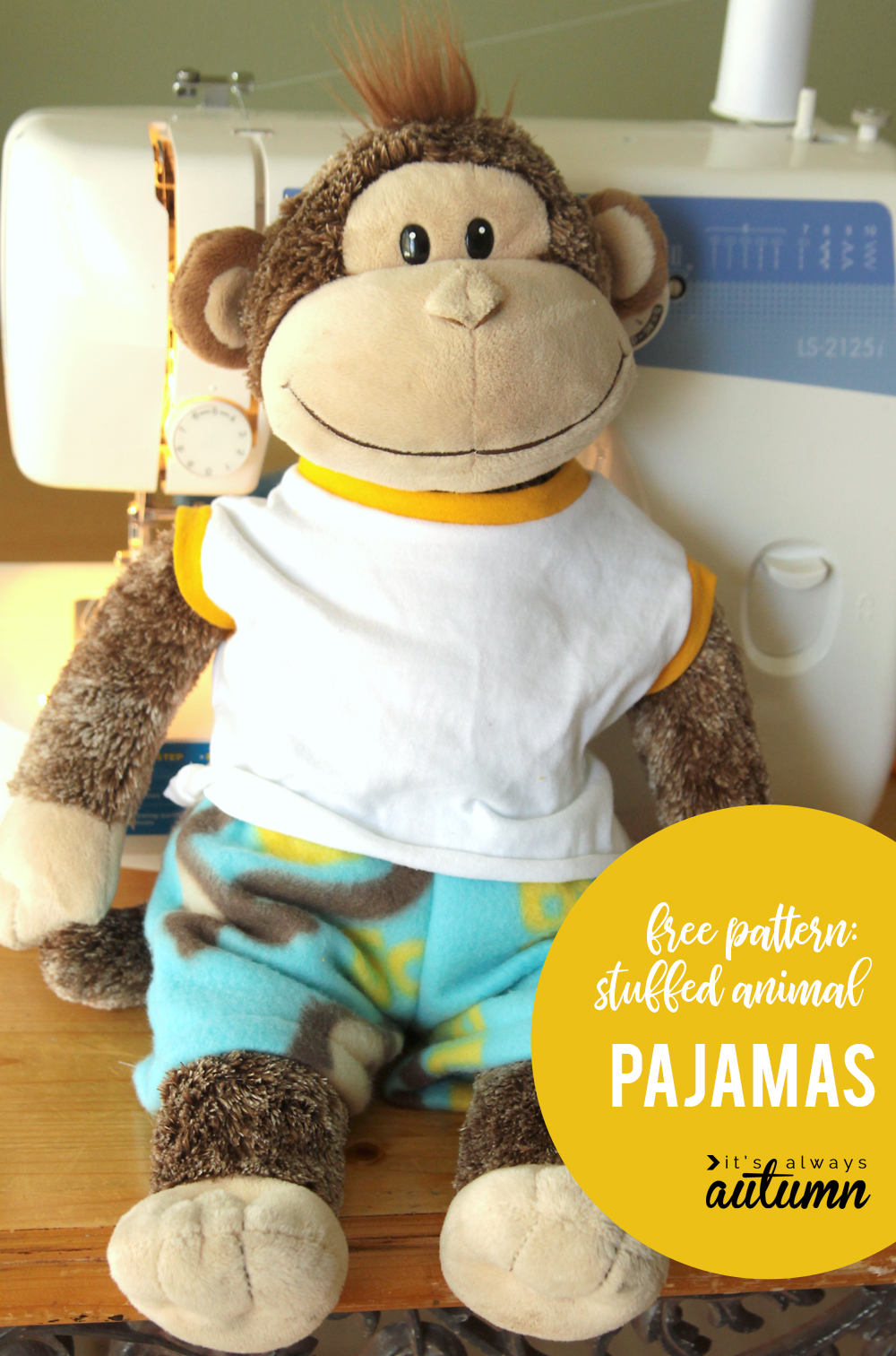 Cute sewing pattern for stuffed animal pajamas! Teddy bear pajama pattern fits Build a Bear size animals.