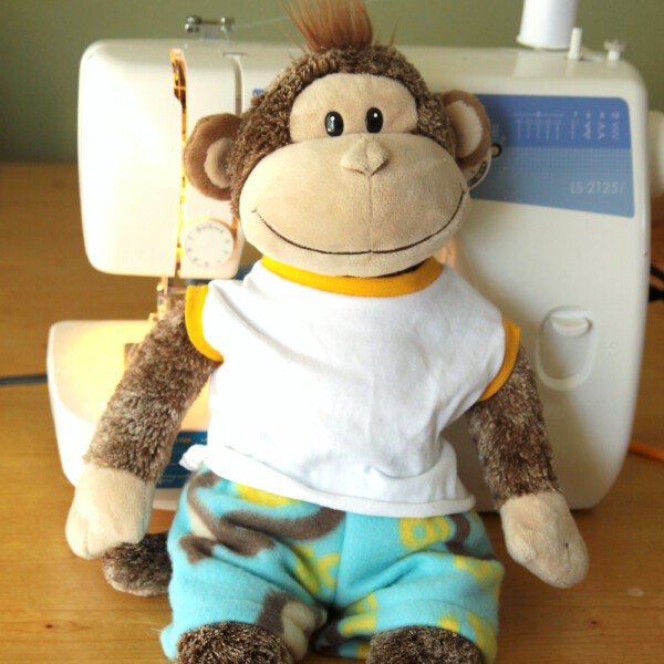 Cute sewing pattern for stuffed animal pajamas! Teddy bear pajama pattern fits Build a Bear size animals.