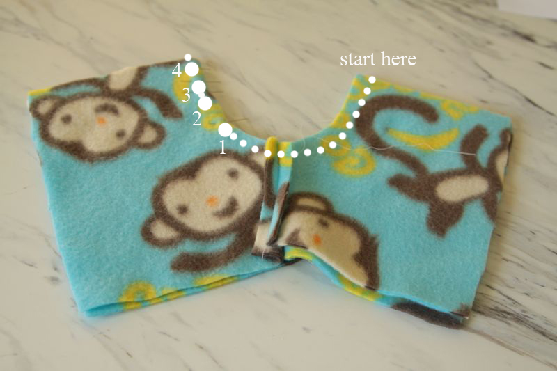 Stuffed animal shorts with rainbow seam marked, leaving opening for tail