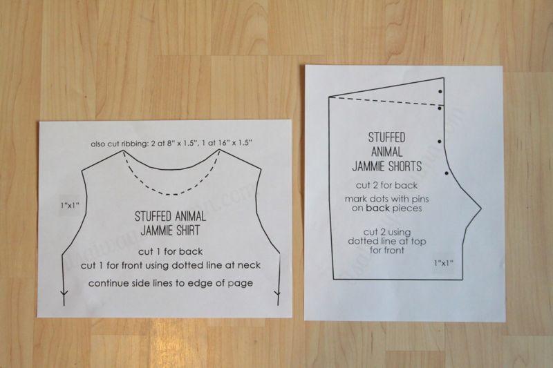 Stuffed animal jammie shirt and shorts sewing patterns