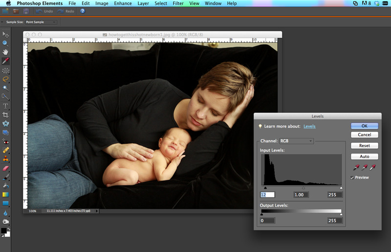 photo of mom and baby open in Photoshop elements with levels box open