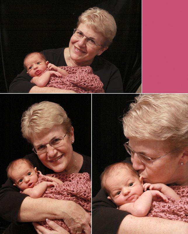 A grandma holding a baby