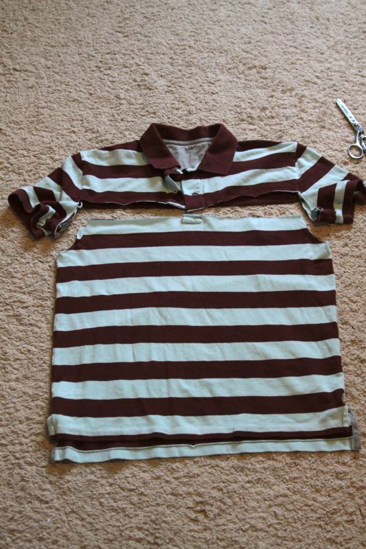 Striped polo shirt with top and sleeves cut off