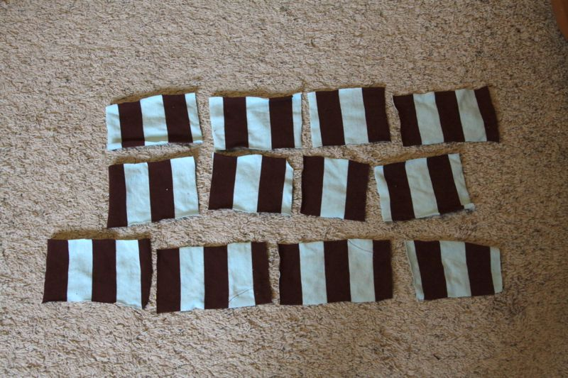 Multiple squares of striped fabric