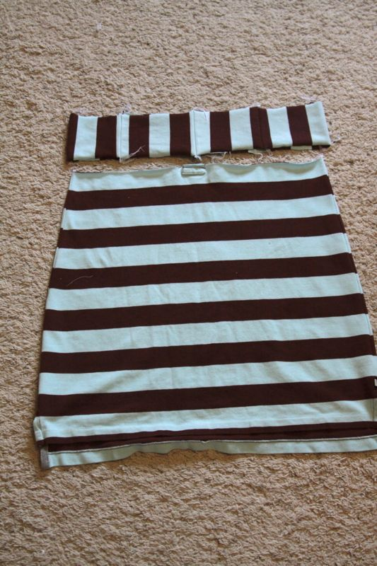 Shirt sewn into skirt; long strip of fabric made for the waistband