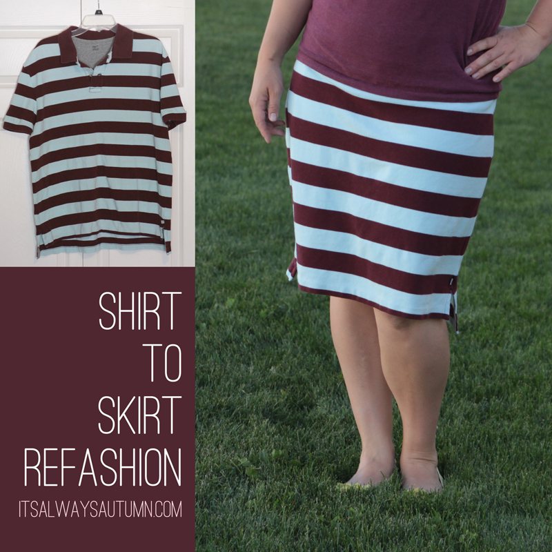 A woman wearing a striped knee length skirt made from a polo shirt