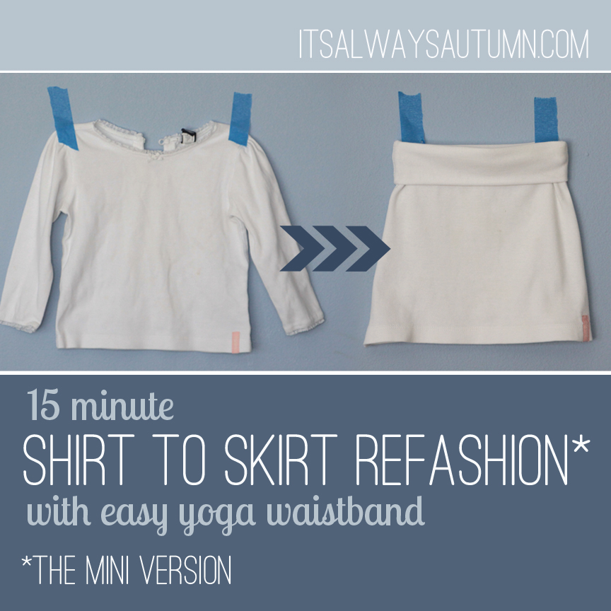 white skirt with yoga waistband made from a white long sleeve shirt