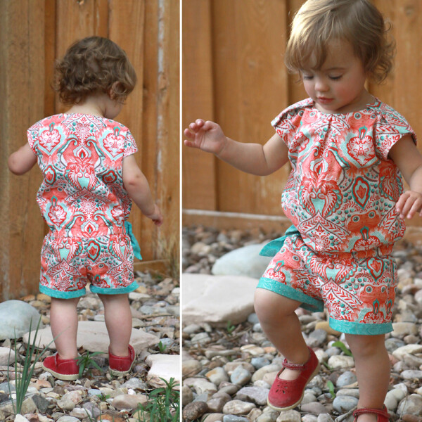 Click through for the free sewing pattern for this adorable girls' shortie in size 12-18mo. Also, instructions to make one in any size!
