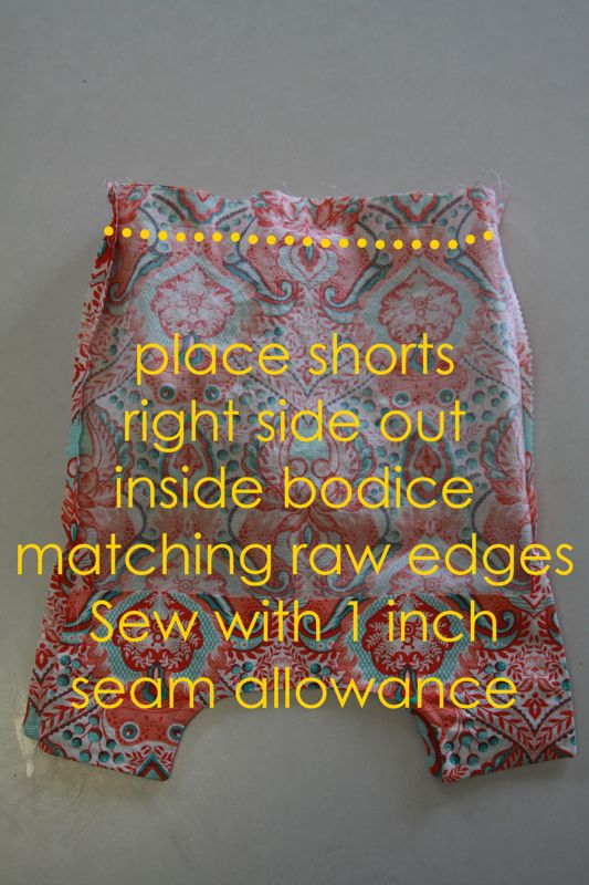 Place shorts right side out inside bodice matching raw edges, sew with 1 inch seam allowance