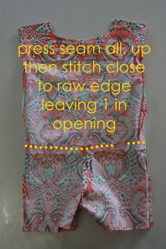 Runway shortie inside out with seam allowance pressed up, then stitch close to raw edge leaving 1 inch opening