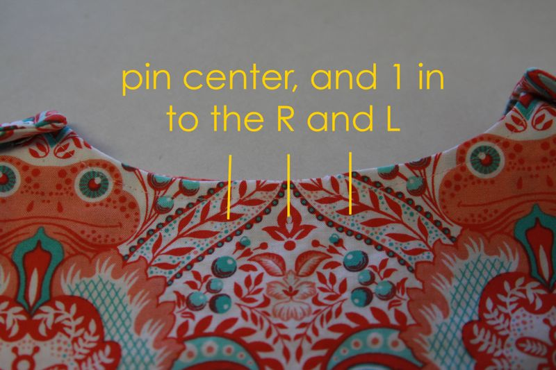 Center of front neckline, pin center, and 1 inch to the right and the left