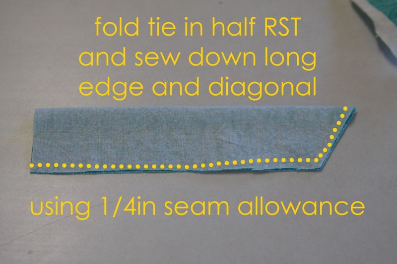 Tie fabric folded in half RST, sew down long edge and diagonal using 1/4 inch seam allowance