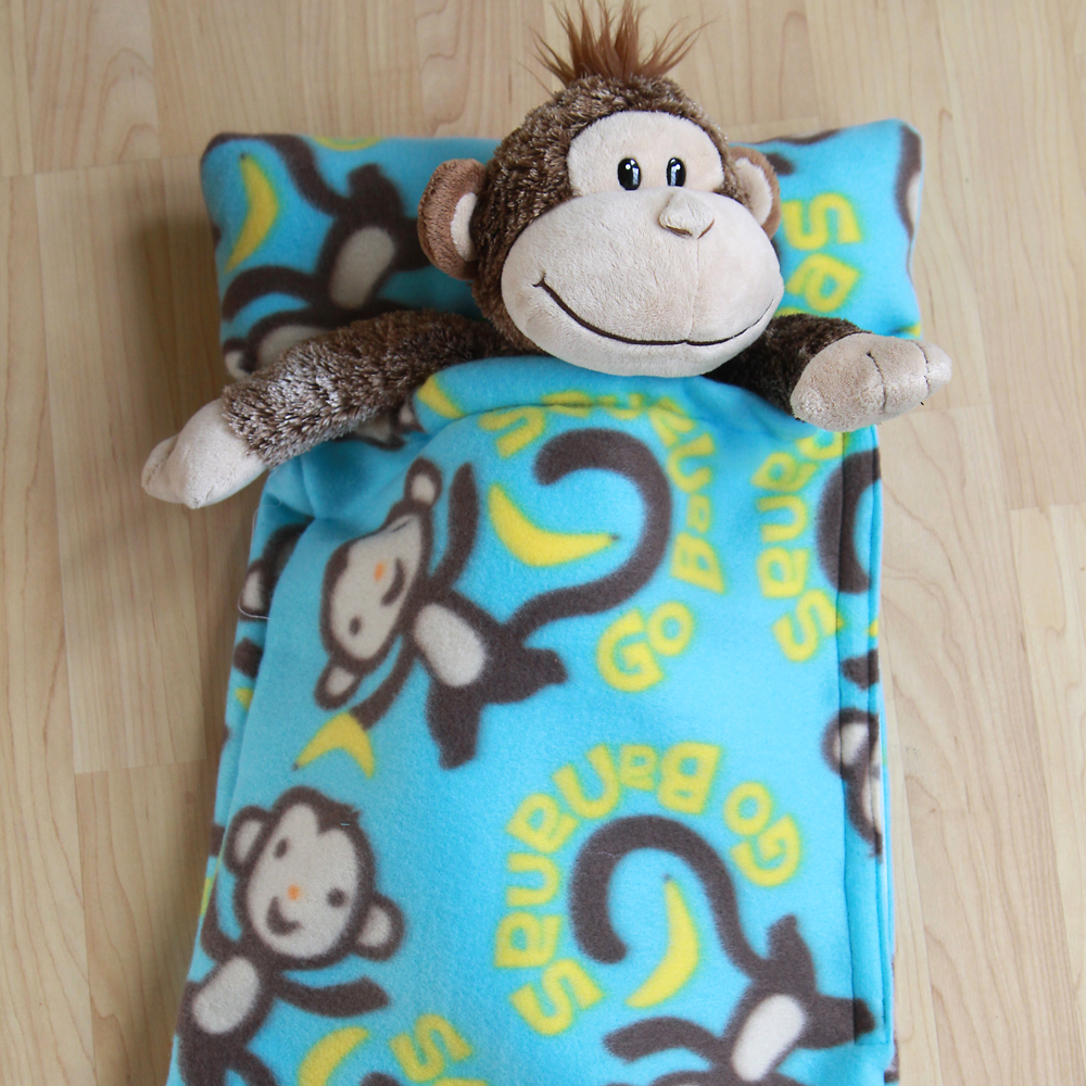 Learn how to make a stuffed animal sleeping bag with this easy sewing tutorial and free pattern.