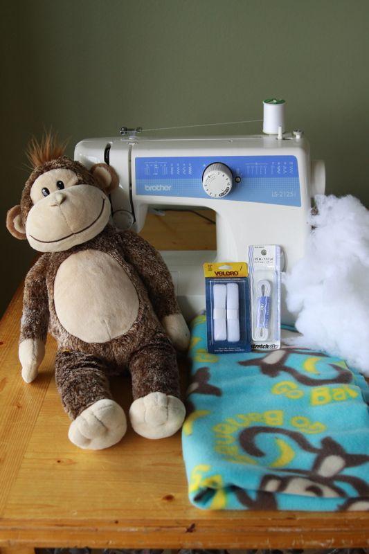 Sewing machine, stuffed monkey, fleece fabric, velcro, elastic, stuffing