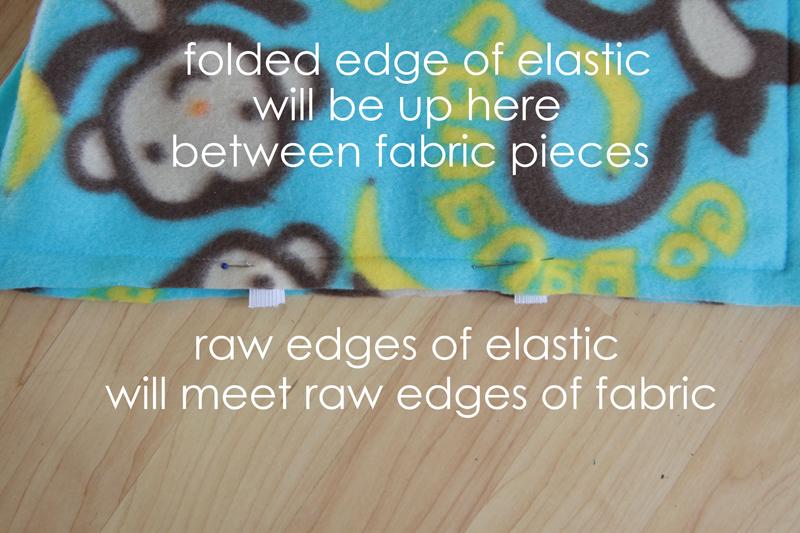 Elastic loops pinned in between two layers of fabric along bottom edge of sleeping bag