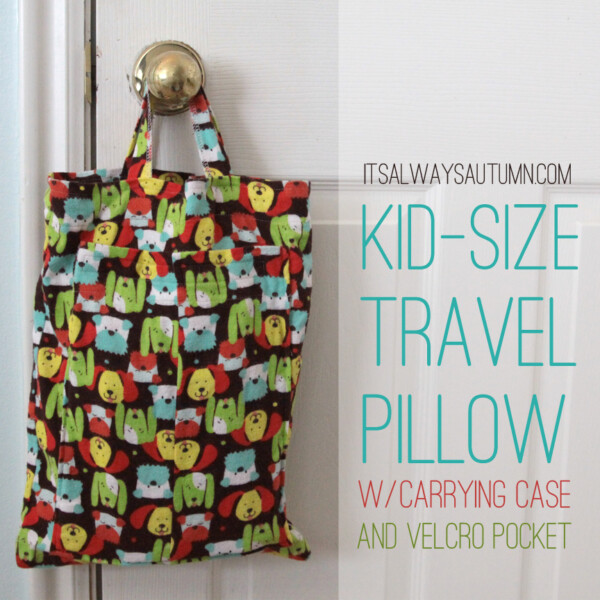 Kid size travel pillow with carrying case hanging on a doorknob