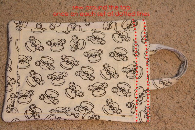 travel pillow case with seams marked around the top edge