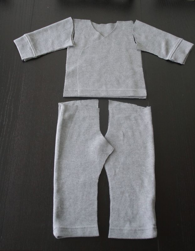 Pieces for little girl pajamas cut from mens sweater
