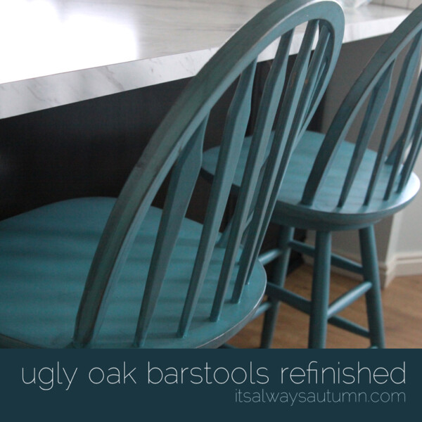 wood bar stools painted turquoise