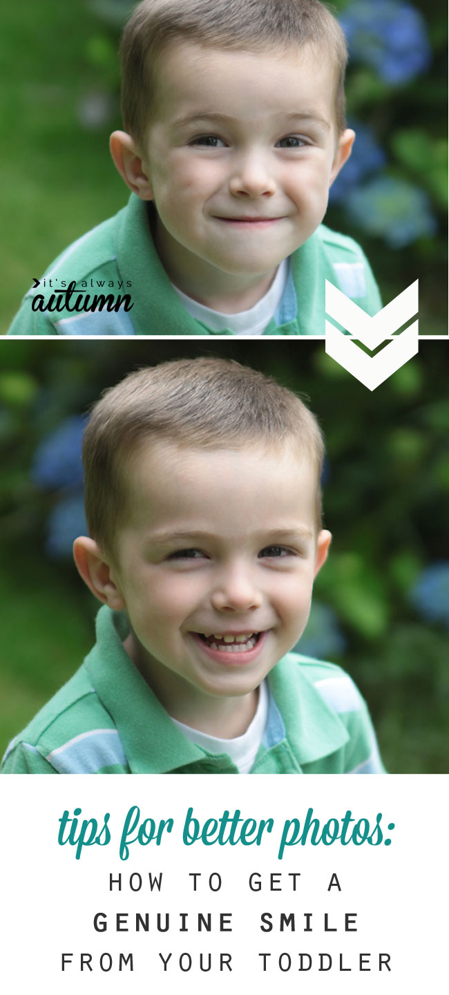 A little boy with a fake smile and then with a genuine smile - how to take great photos of toddlers