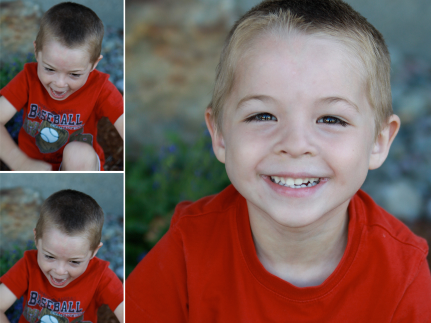 A little boy screaming and then smiling for a picture