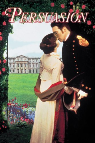 Persuasion movie cover with man and woman kissing