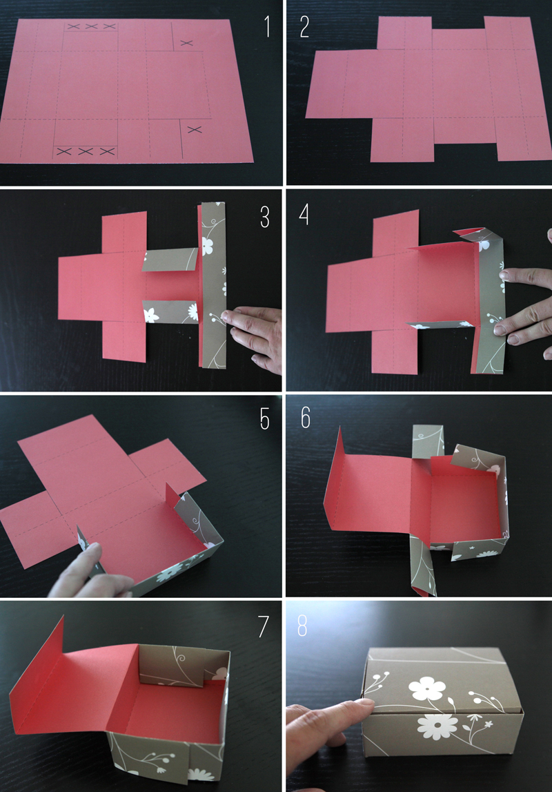 Cutting and folding paper brownie box from printable template