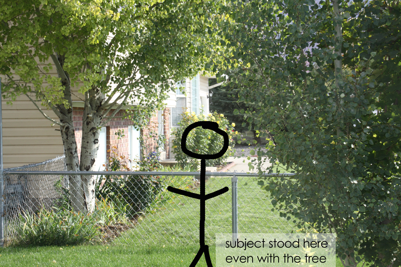 Stick figure drawn on photo of a front yard