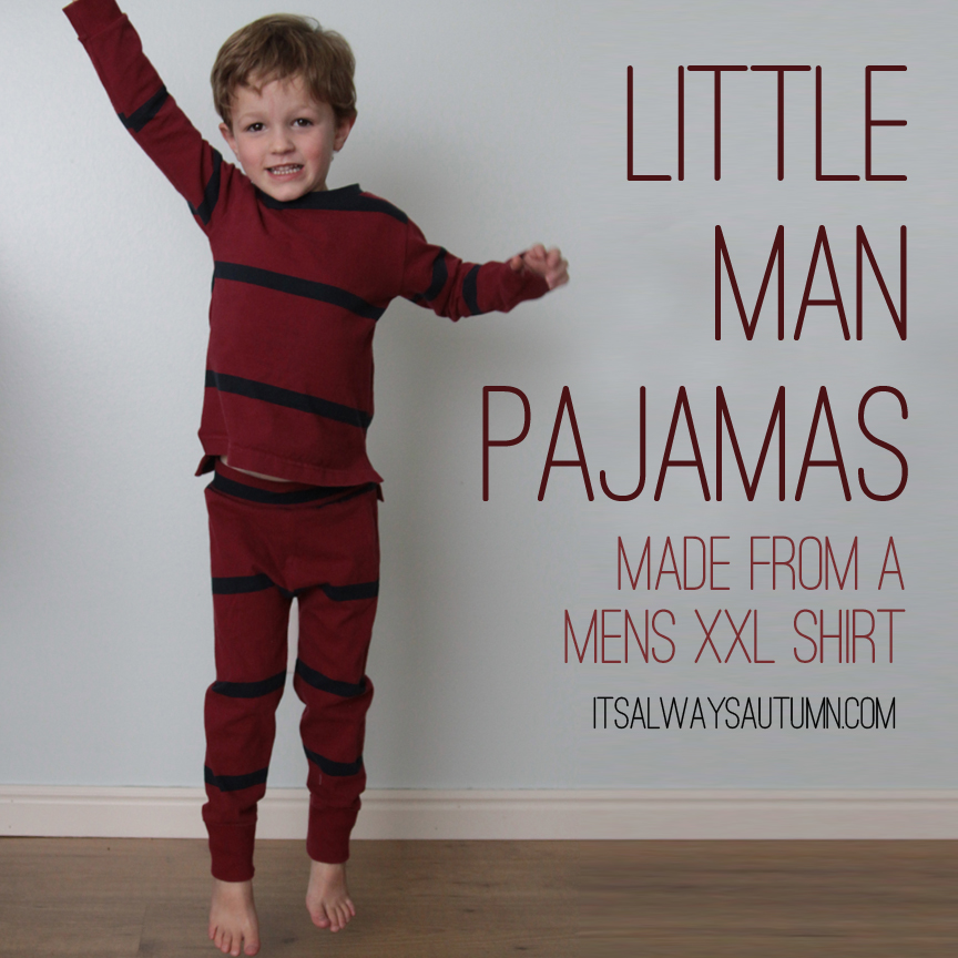 little boy wearing pair of pajamas made from a mens XXL shirt