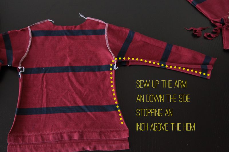 Pajama top with underarm and side seam marked