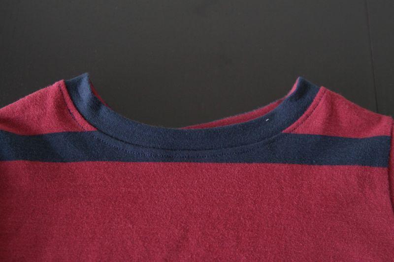 Pajama top neckline finished and bound