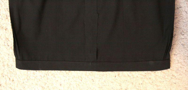 Bottom of skirt hemmed