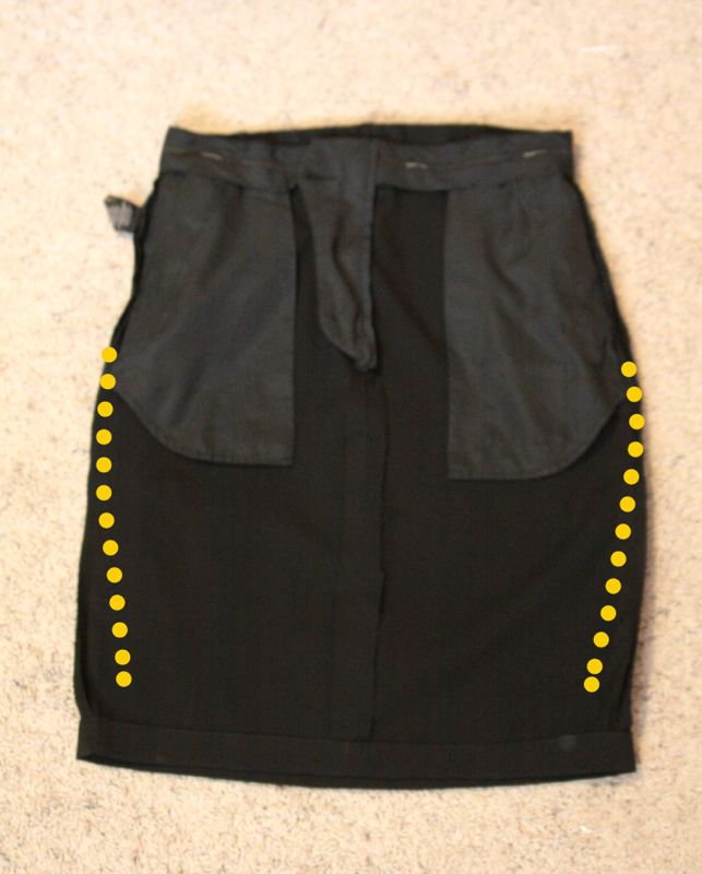 Black Pencil skirt turned inside out with curved in side seams marked