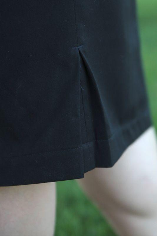 Kick pleat on a black skirt