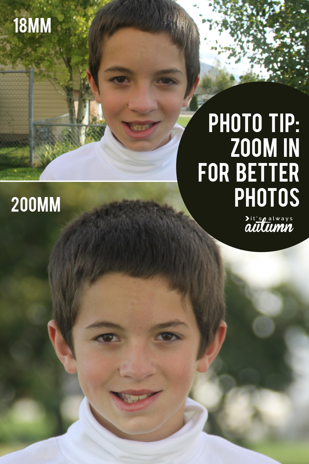 Photography tip: Understanding focal length. Focal length (whether you are zoomed in or out) makes a HUGE difference in how your photos look.