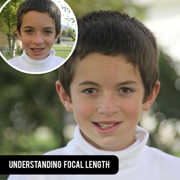 Photos of a boy taken at long and short focal lengths
