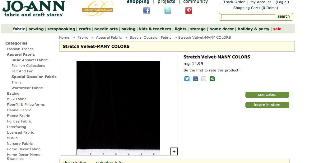 black stretch velvet at Jo-Ann craft store website