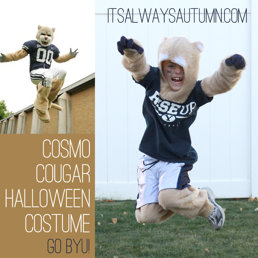 Boy jumping in a DIY Cosmo Cougar Halloween costume