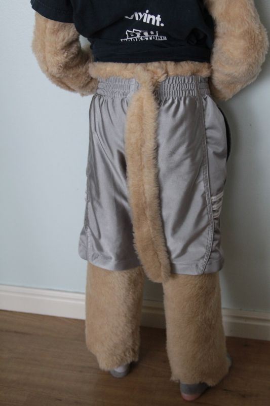 boy dressed in cosmo cougar costume with long tail