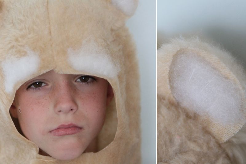 A close up of a boy in a cougar hood costume with stuffing over eyes and in ears