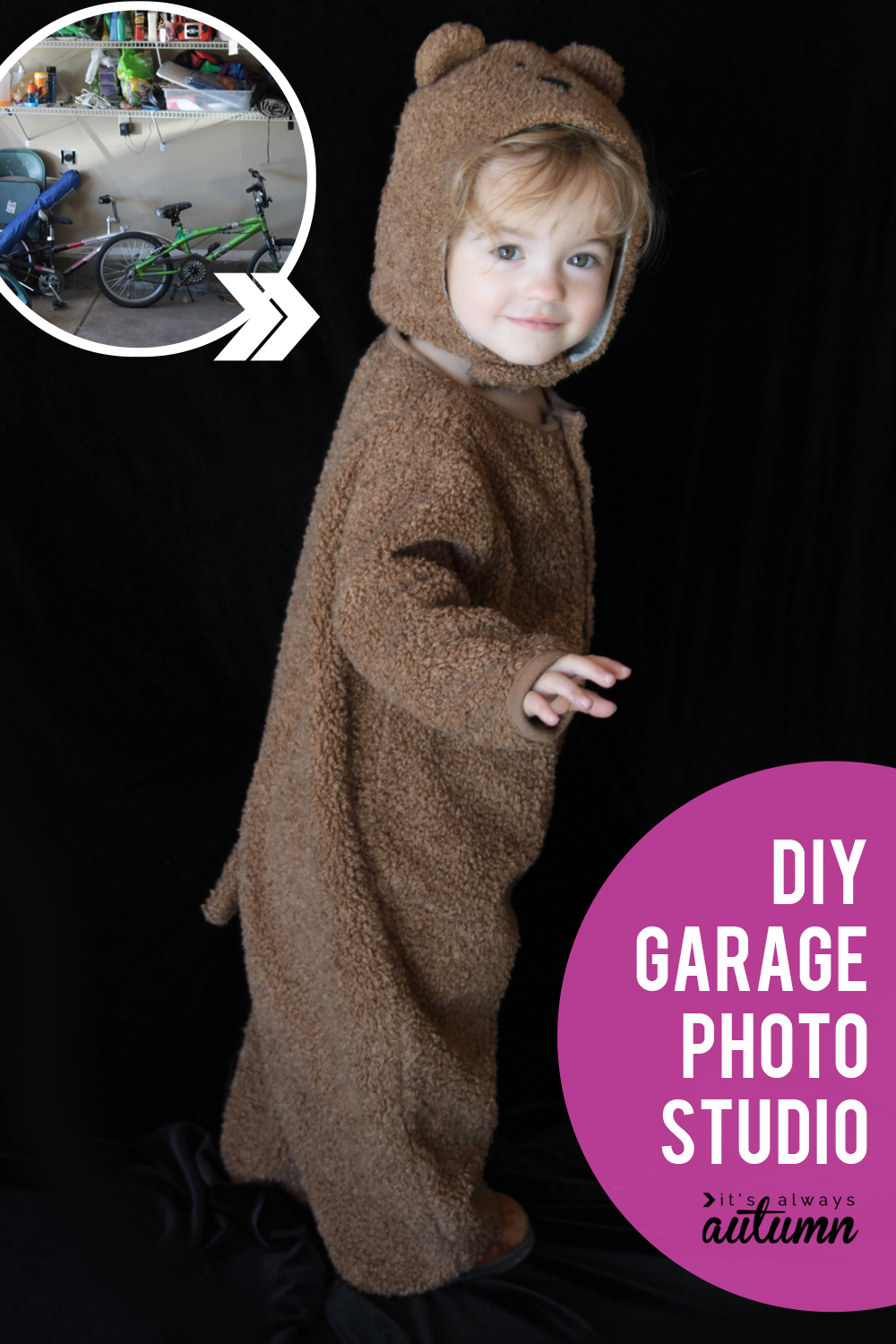 If you want great photos using natural light, set up a simple garage photo studio. All you need is some black fabric!