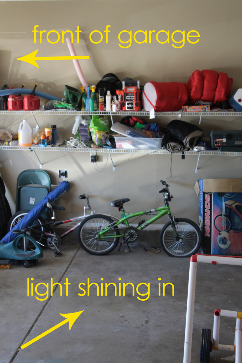 Garage with shelves full of household items