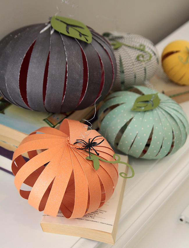 Pumpkin craft made from strips of patterned paper