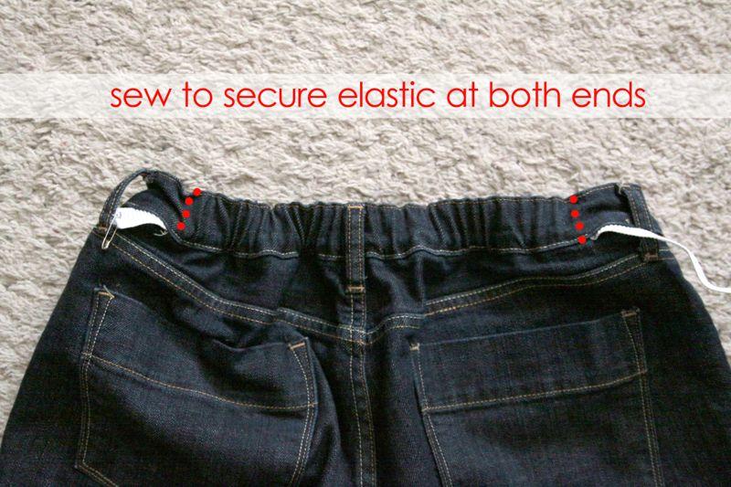 Elastic thread through back waistband to gather it