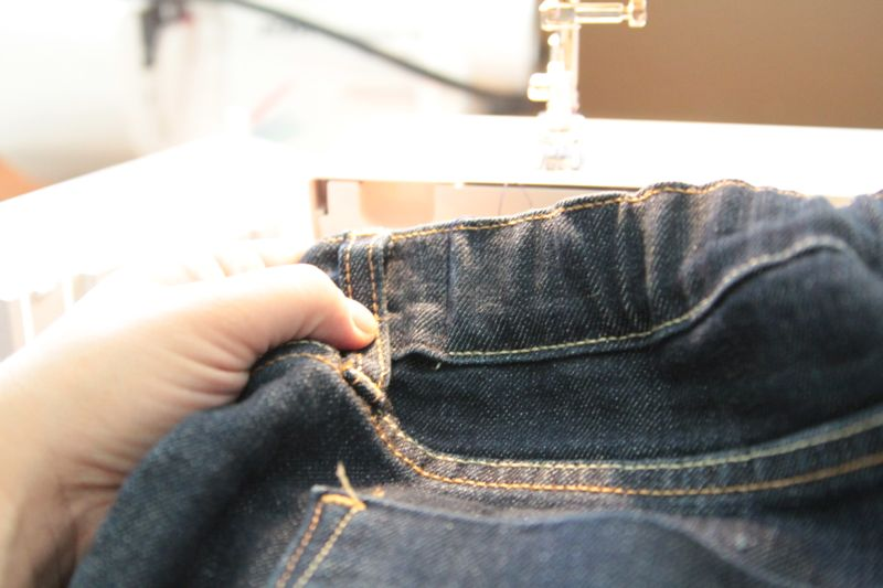 Back of jeans waistband that\'s been gathered
