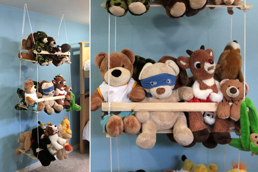 DIY stuffed animal swing made from wood slats and string with many stuffed animals on it
