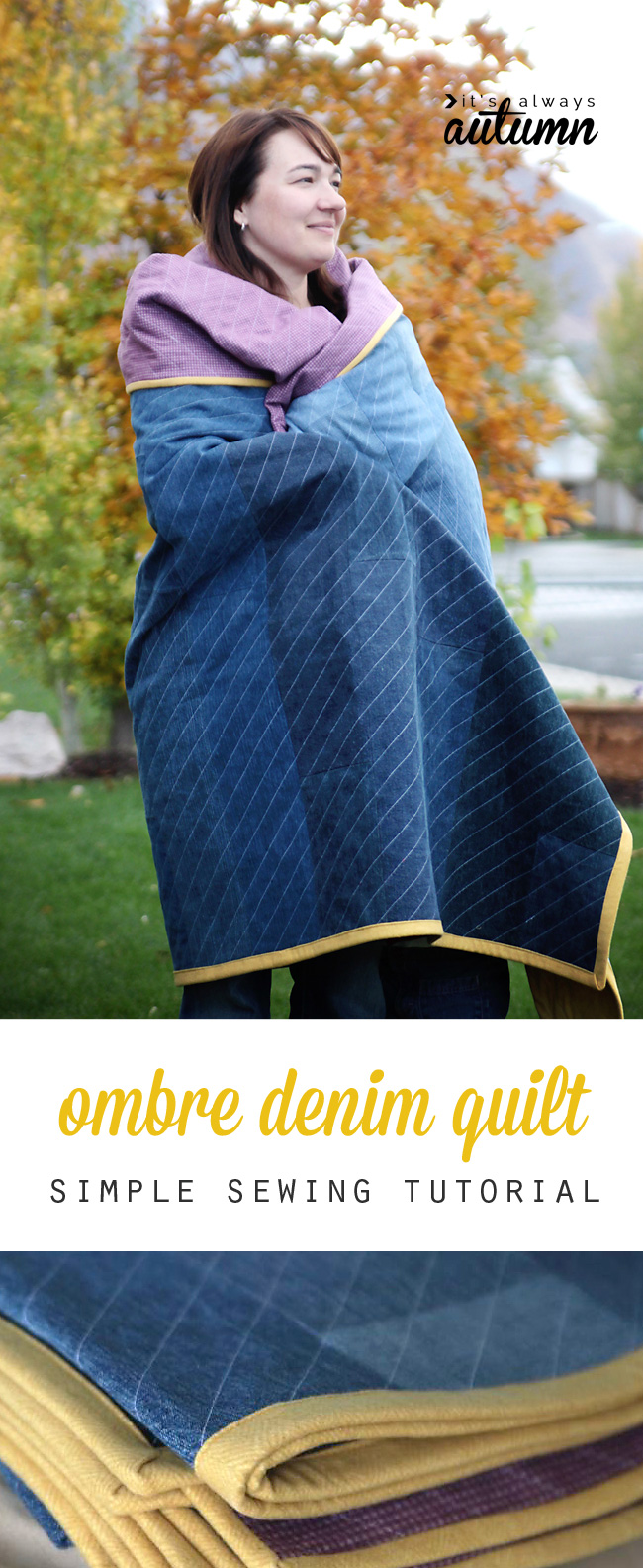 A person wrapped up in a denim quilt