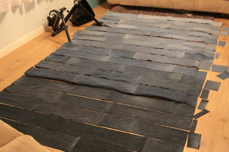 Denim rectangles laid out in quilt shape