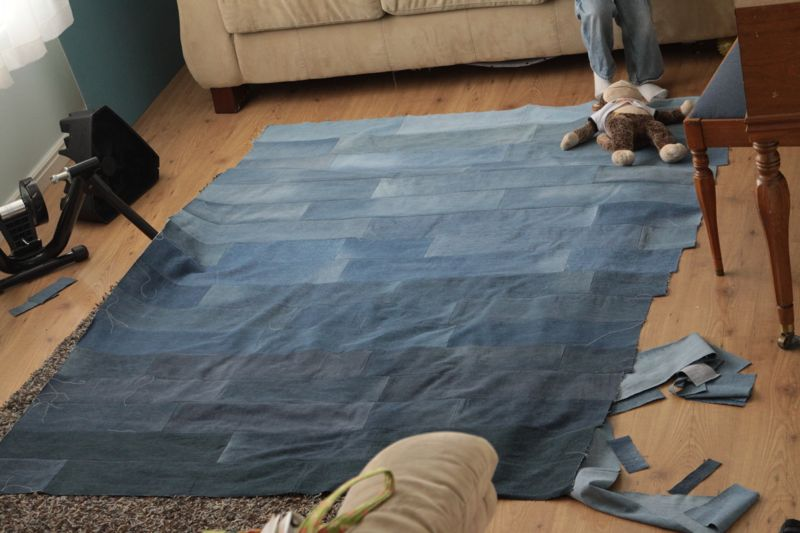 Denim rectangles sewn together into quilt top