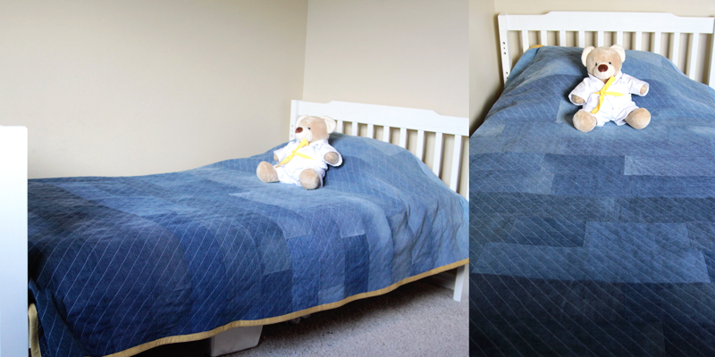 DIY denim quilt on a bed